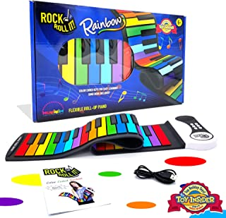 Rock And Roll It - Rainbow Piano. Flexible, Completely Portable, 49 standard Keys, battery OR USB powered. Includes play-by-color song book!