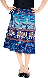 c2e3c55e62 Sttoffa Women's Cotton Ethnic Wrap Around Block Print Knee Length Skirt  (NTBW24-0062,