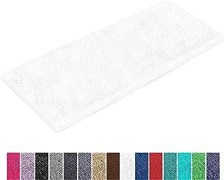 LuxUrux Bathroom Rug Mat -Extra-Soft Plush Bath Shower Bathroom Rug,1'' Chenille Microfiber Material, Thickening Shaggy Tub Mat Carpet, Super Absorbent. Machine Wash & Dry (27 x 47 Inches, White)