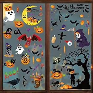 3 Sheets 100 pcs Halloween Window Clings Various Themes Bats Spiders Pumpkins Ghosts Night Owls Cats Monsters Colorful Halloween Party Decoration for Window Glass