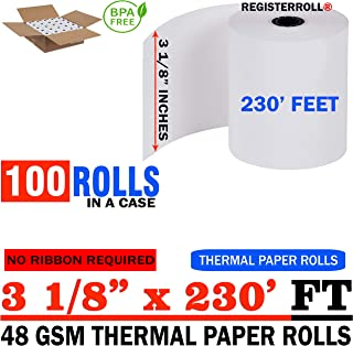 3 1/8 x 230 Thermal Paper roll 100 Pack | 48 GSM Super Saver Pack | BPA Free - from RegisterRoll