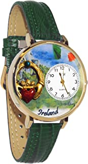 Ireland Hunter Green Leather and Goldtone Watch #WG-G1420004