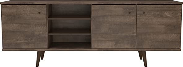 """Midtown Concept Mid-Century 3-Cabinet TV Stand (71"""" in.), Distressed Brown"""