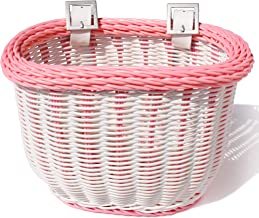 Colorbasket 01273 Kid's Front Handlebar Bike Basket, All Weather, Water Resistant, Adjustable Leather Straps, Food-Contact Safe, White with Pink Trim