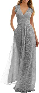 Jonlyc V Neck Lace Bridesmaid Dress with Pockets A Line Maid of Honor Dress Long Prom Evening Gowns
