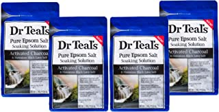 Dr Teal's Activated Charcoal & Lava Salt Soaking Solution, 3 lbs (Pack of 4)