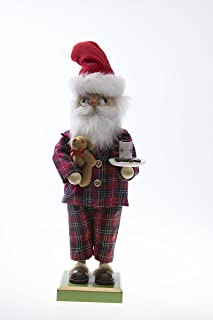 "Clever Creations Traditional Wooden Pajama Santa Christmas Nutcracker Collectible Mr. Claus in PJs | Festive Holiday Décor | Holding Milk, Cookies, and Teddy Bear | 100% Wood | 12"" Tall"