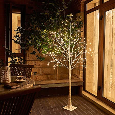 Leruckdite Brown Birch Tree Light 3 Feet 219L LED Artificial Tree Christmas Decorations Lighted Tree for Home Party Festival and Outdoor Use Warm White