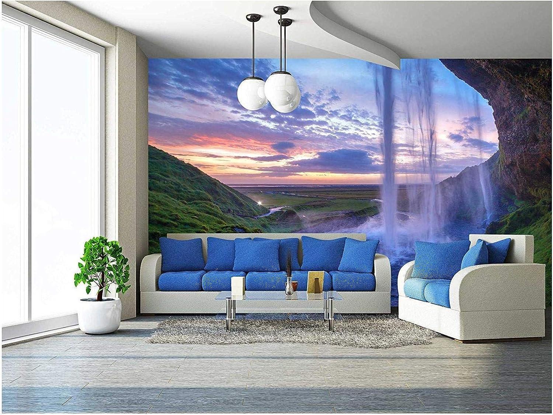 wall26 - Seljalandfoss Waterfall at Sunset, Iceland Horizontal Shot - Removable Wall Mural | Self-Adhesive Large Wallpaper - 100x144 inches