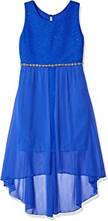 Girls' Big 7-16 Sleeveless High-Low Party Dress with Lace Bodice