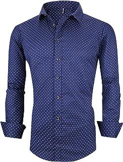 XTAPAN Men's Long Sleeve Casual Slim Fit Vertical Striped Button Down Dress Shirt