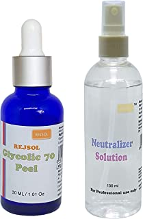 REJSOL Glycolic 70 Peel, Glycolic Acid 70% 30 Ml With Neutralizer 100 Ml Chemical Peel, Peeling Kit…, 500 g