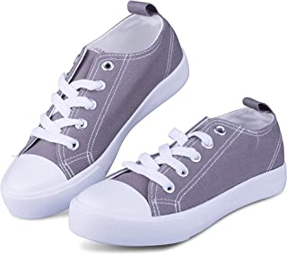 Haughty Girls Shoes Sneakers Tie up Slip on Canvas Laces Children Causal Comfortable Cap Toe Shoes Kids Boys Toddlers