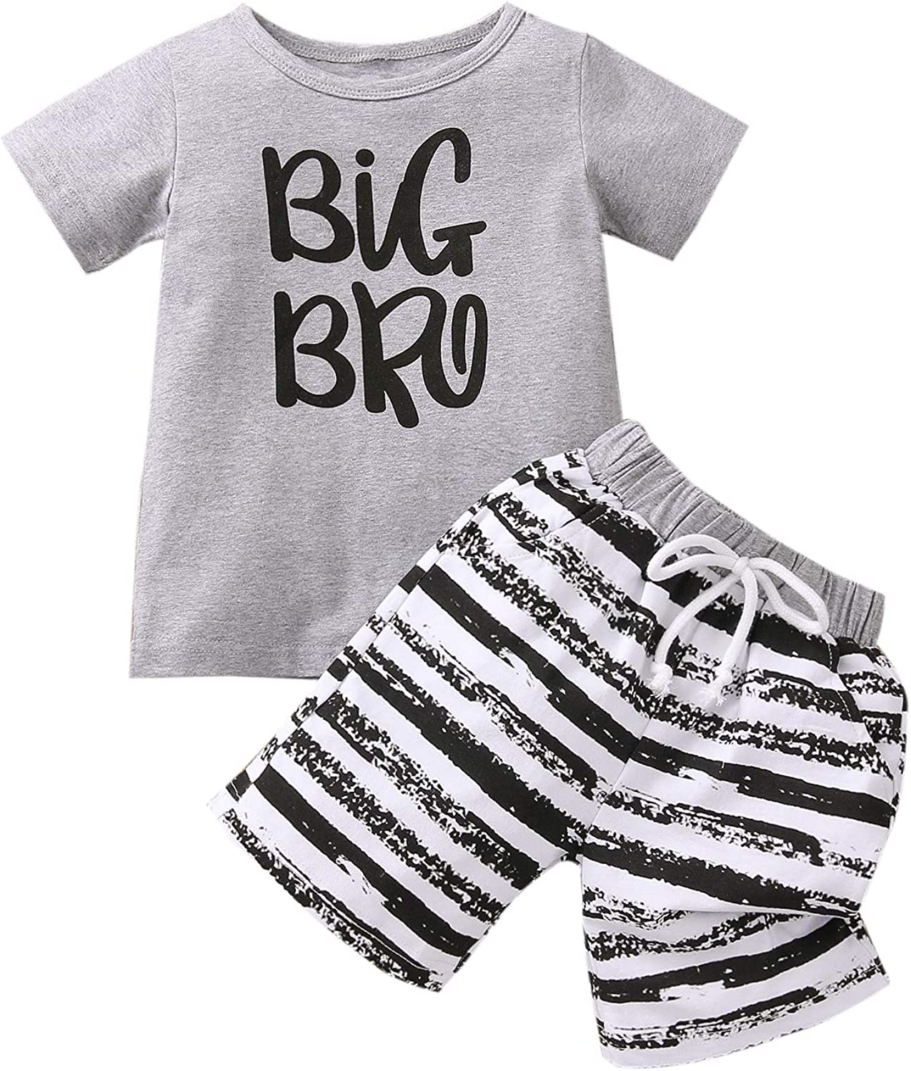 Toddler Infant Baby Boy Clothes Short Sleeve T-Shirts Tops and Striped Shorts Set 2 Piece Summer Outfits