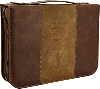 IvyRobes Bible Cover Case Cross for Men Vintage Brown PU Leather Durable Zipper Bible Bag Carrying Case Large Size
