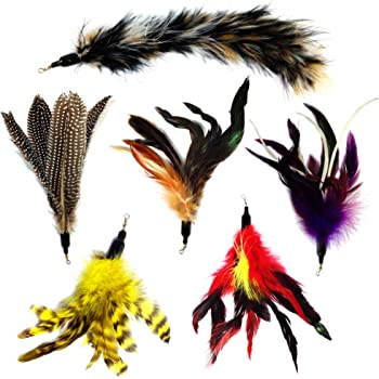 Pet Fit For Life Multi Piece Replacement Feathers Pack Plus Bonus Soft Furry Tail for Interactive Cat and Kitten Toy Wands…