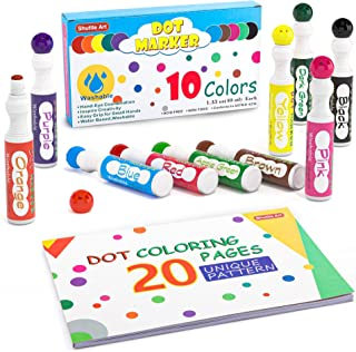 Washable Dot Markers, 10 Colors Bingo Daubers with Dot Coloring Book and 70 Patterns Coloring PDF Sheets, Non-Toxic Water-...