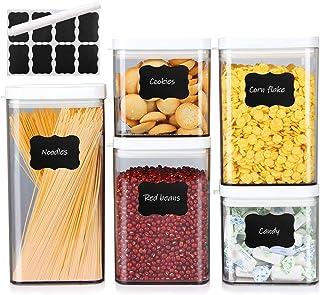 MEIXI Lot de 5 Boîtes de Conservation Alimentaire, Boîte Hermetique Alimentaire avec Étiquettes et Marqueur, Boites de Ran...