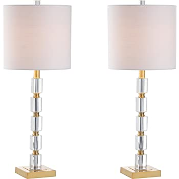 "JONATHAN Y JYL5001A-SET2 Claire 28.5"" Crystal Table Lamp Clear/Brass (Set of 2)"