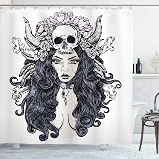 "Ambesonne Gothic Shower Curtain, Woman with Long Hair and Horns Roses Skull Mysterious Hunted Folklore Artwork, Cloth Fabric Bathroom Decor Set with Hooks, 70"" Long, Pink Lilac"