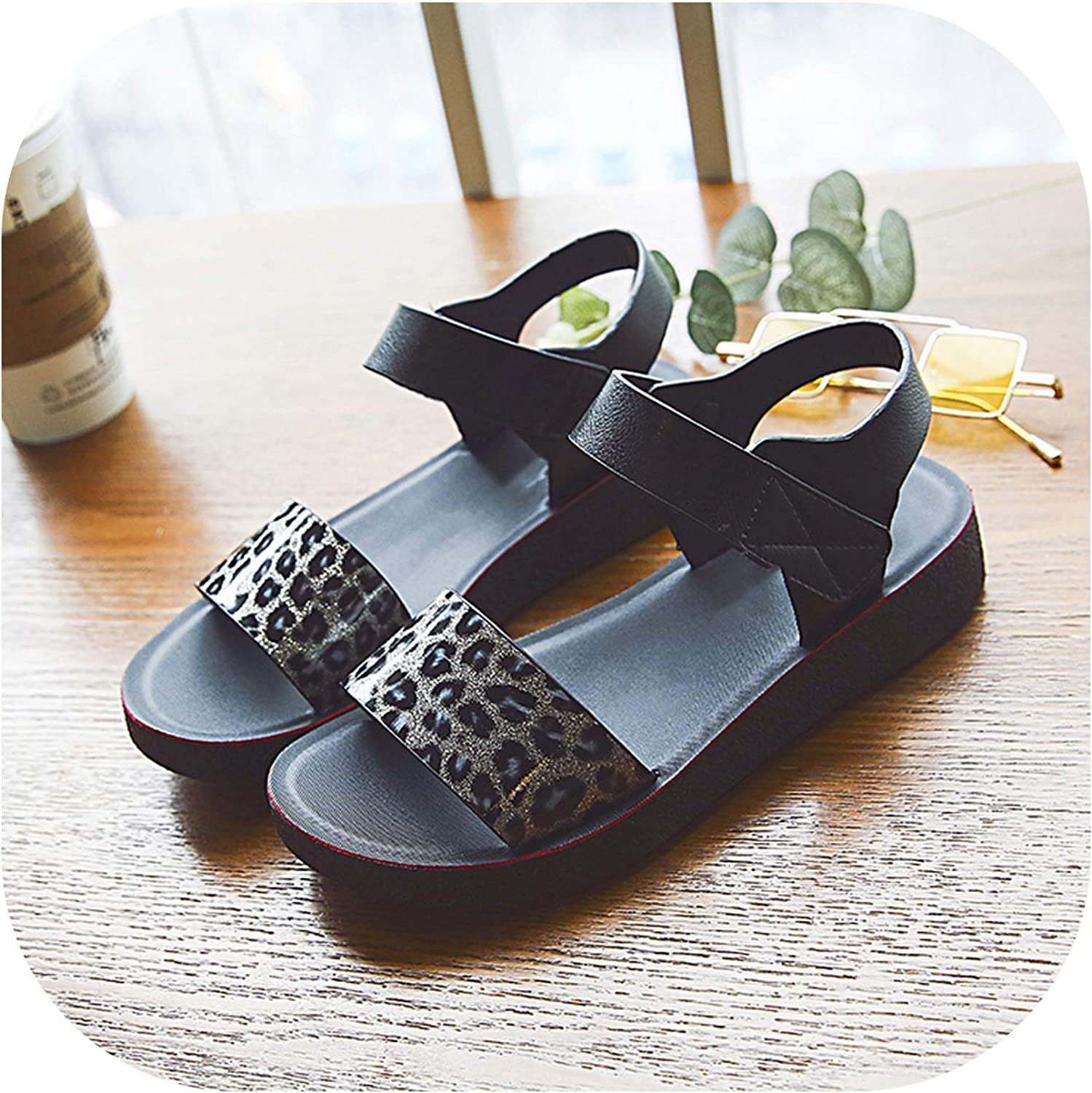 Women Sandals Sequined Cloth High Heels Summer shoes Leopard Slides Platform Sandals