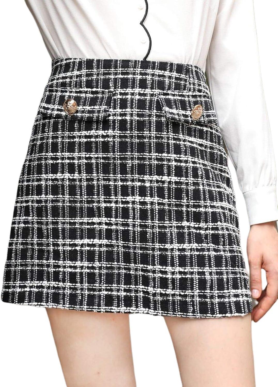 Milumia Women Elegant Plaid High Waist Mini Skirt Flap Detail Zip Tweed Straight Skirts