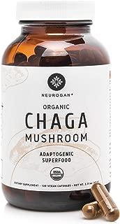 Neurogan Organic Chaga Mushroom Capsules - Wild Harvested, USDA Organic Chaga Powder in 120 Capsules - Energy & Immune System Booster, Potent Antioxidant for Youthfulness - Vegan, Non-GMO, Gluten free