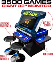 Creative Arcades Full-Size Commercial Grade Cocktail Arcade Machine | Trackball | 3500 Classic Games | 4 Sanwa Joysticks | 2 Stools | 32