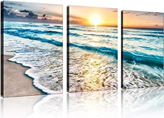 TutuBeer 3 Panel Canvas Wall Art for Home Decor Blue Sea Sunset White Beach Painting The..