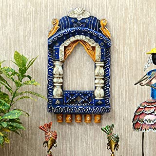 Medieval Arts Mina Solid Wood Hand Painted 16'' Wall Hanging Jharokha Frame (Blue)