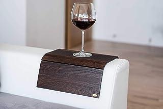 Bandeja de madera para sofá con reposabrazos, para sofá, mesa, posavasos, sofá, soporte para teléfono con tela 5.dark Brown
