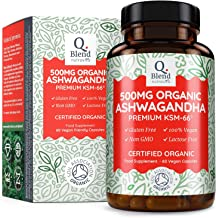 Organic Ashwagandha 500mg - 500 mg Premium KSM-66 Ashwanghanda per Vegan Capsule (60 Capsules) -Natural Ayurveda Herbal Supplement - Certified Organic by Soil Association - Made in The UK by Nutravita