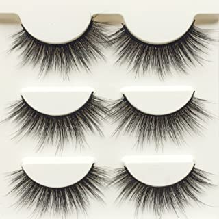 Wehous 3 Pairs Luxurious Super Long 3D Natural Cross Thick False Eyelashes Eye Lashes Makeup D76