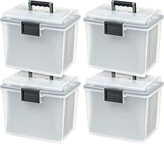 IRIS USA, Inc. UCB-HFB Letter Size Portable Weathertight File Box, 4 Pack, Clear