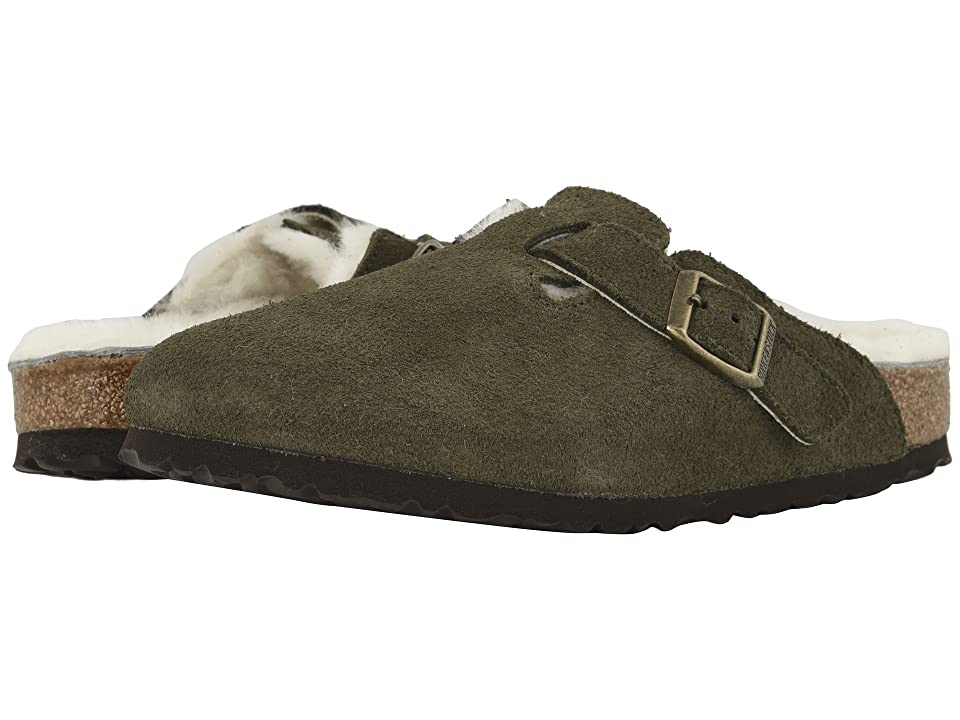 Birkenstock Boston Shearling (Forest Natural Suede/Shearling) Clog Shoes