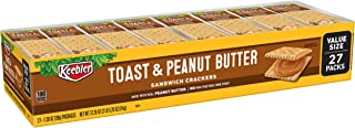 Keebler Toast and Peanut Butter Sandwich Crackers - Convenient School Lunch Snack, Single Serve 1.38 oz Bags (27 Count)