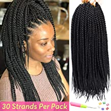 6Packs 30 Strands Senagalese Twist Crochet Braids Hair Ombre Senegalese Twist Small Havana Mambo Twist Synthetic Twist Hair Extension (20inch-6Pac, 1B)