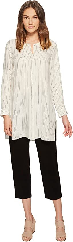Eileen Fisher Painterly Stripe Silk Crepe Long Shirt