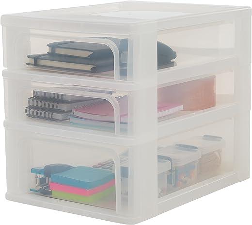 Iris Ohyama Schubladenschrank, Schubladencontainer, 3 Schubladen (2 x 4L + 1 x 7L), Format A4, durchsichtige Schubladen, Büro, Wohnzimmer -…