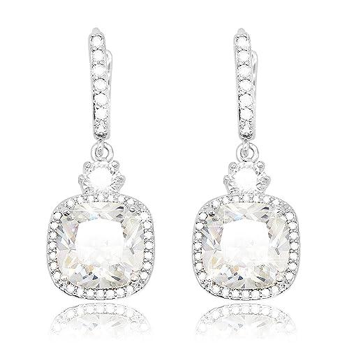 f6ee845b4ef6 KristLand -Women s Elegant Jewelry 18k White Gold Plated Sparkle Square  Cubic Zirconia Drop Earrings Weddings