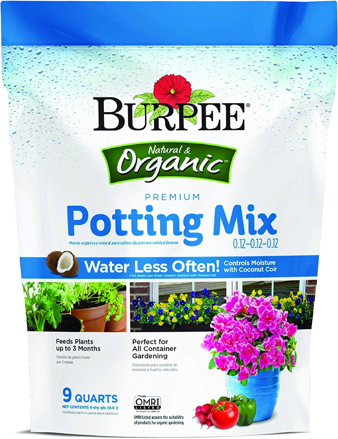 A clear image of the Burpee Premium Organic Potting Mix packaging.