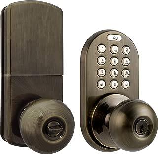 MiLocks DKK-02AQ Electronic Touchpad Entry Keyless Door Lock, Antique Brass
