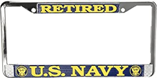 Honor Country US Navy Retired License Plate Frame (Chrome Metal)