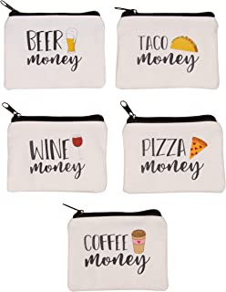 Juvale 5-Pack Fun Coin Purse - Canvas Zipper Pouch for Money, Cash, and Change - Beer, Taco, Wine, Pizza, and Coffee Designs