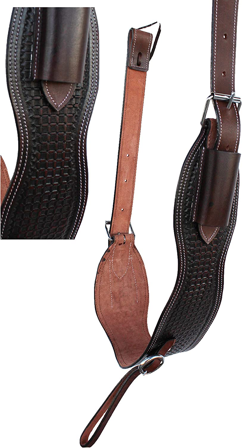 Pro Rider 30  Horse Western Brown Leather Tooled Saddle Back Flank Cinch w Billets 9743