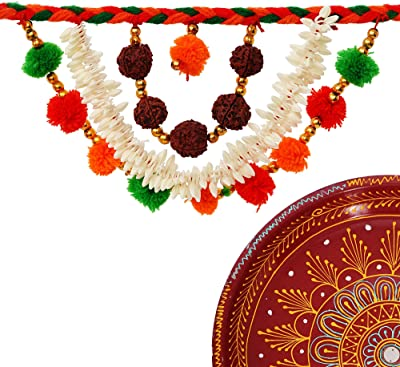 eCraftIndia Handcrafted Decorative Red Pooja Thali with Toran/Bandarwal Door Hanging