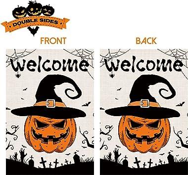 2 Pcs Decorative Halloween Garden Flags 12x18 Double-Sided, Burlap Witch Hat Scarecrow Farm Truck Flag, Festive Fall Pumpkin