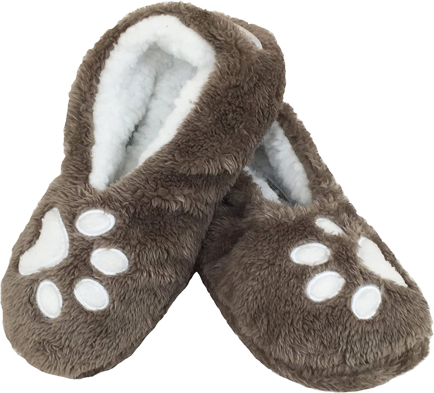 Footsies Paw Print Slippers  I Sleep with Dogs (Small Med)