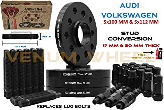 4 Pc 5x100 5x112 MM Hub Centric Wheel Spacers 17 MM & 20 MM + Stud Conversion Kit W/Black Racing Lugs | Compatible with Audi TT A3 A4 A6 A8 S4 S6 S8 Volkswagen Jetta Golf GTI R32 EOS CC Passat
