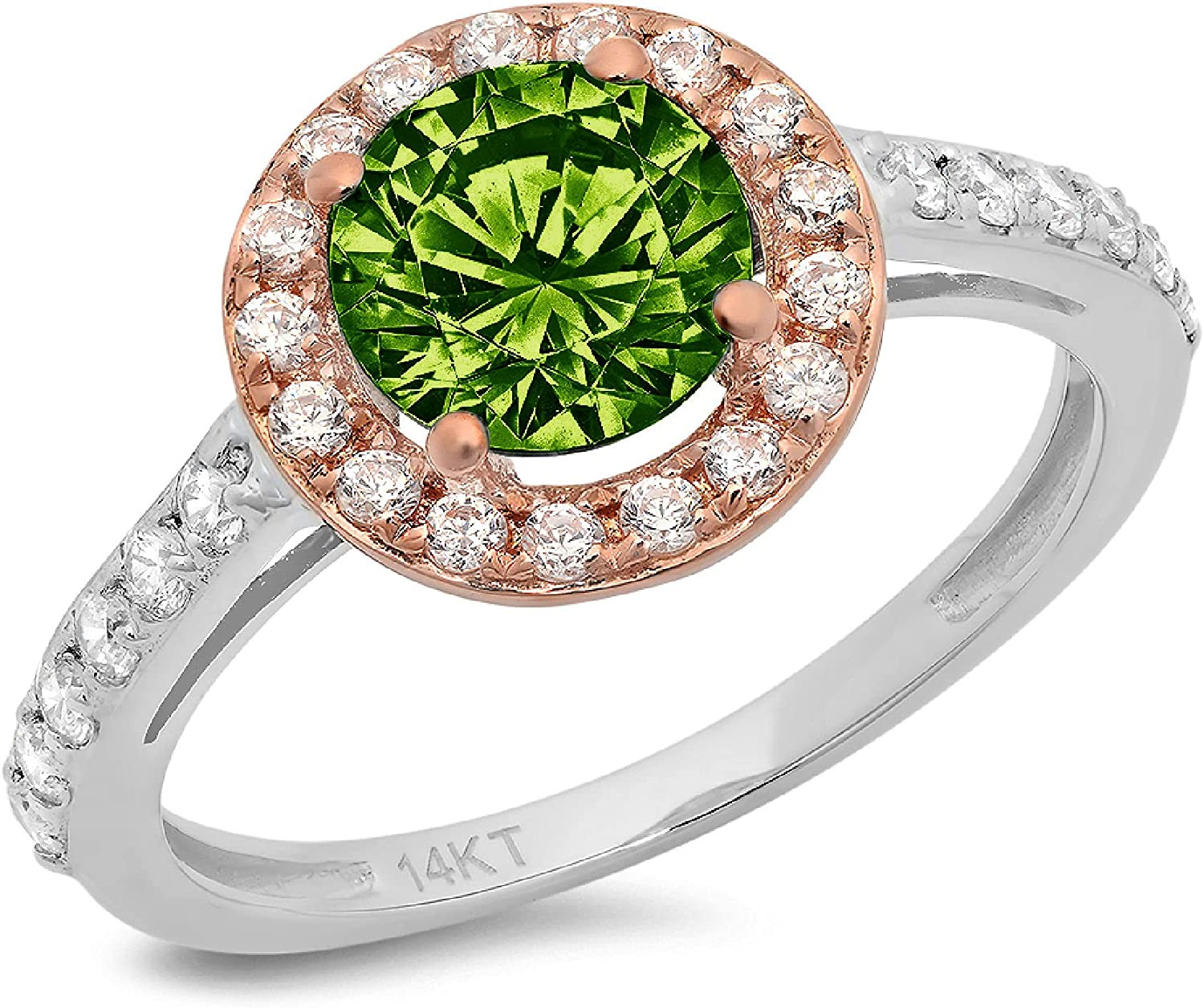2.34ct Round Cut Solitaire Halo Genuine Natural Vivid Green Peridot Gemstone Ideal VVS1 Engagement Promise Statement Anniversary Bridal Wedding Accent ring Solid 14k White & Pink Rose Gold